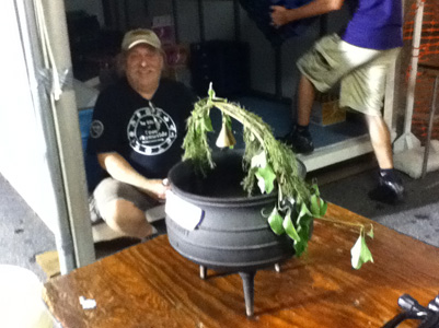 Bob and cauldron after a busy Saturday evening for both.
