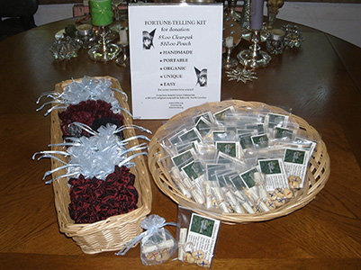 Divination kits in baskets with sign