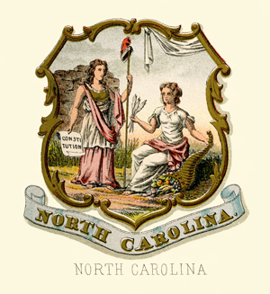 NC state seal depicted as coat of arms