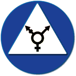 Black symbol combining Mars, Venus, and both, in a white upright triangle within a blue circle