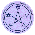 Spirit, Water, Fire, Earth, Air elements at five points of pentagram