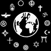 Symbols of many faiths encircle the Earth
