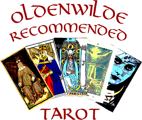 Oldenwilde Recommended Tarot with fan of five different High Priestess cards in chronological order