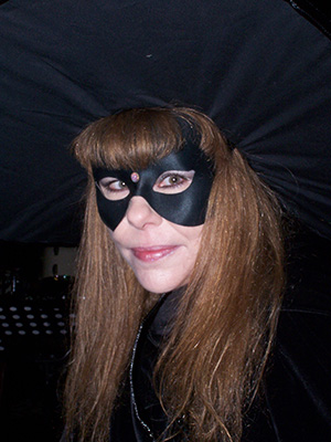 Lady Passion wearing Witch hat and mask (Samhain 2011)