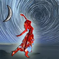 Pagan dancer silhouetted against swirling stars, crescent Moon