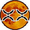 Bats forming two X's in front of an orange Full Moon