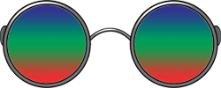 Glasses with a trifocal spectrum, orange-green-purple