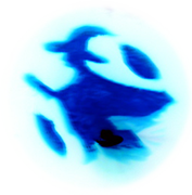 Blue inverse of pumpkin carved as witch flying on broom