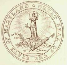 Original state seal of Mayland shows Liberty holding scales of justice