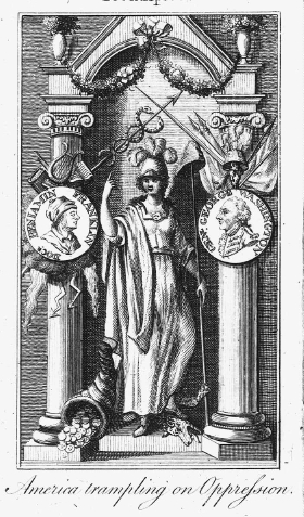 Engraving of Classical Temple Dedicated to Liberty, Justice, and Plenty